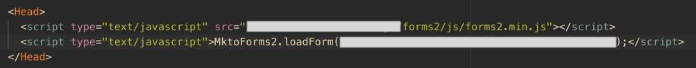 Marketo script in Head component