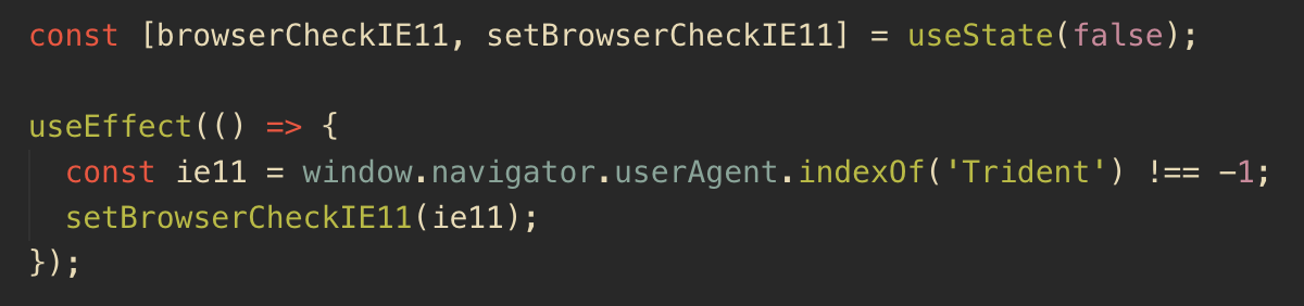 React useEffect to check IE11 window object
