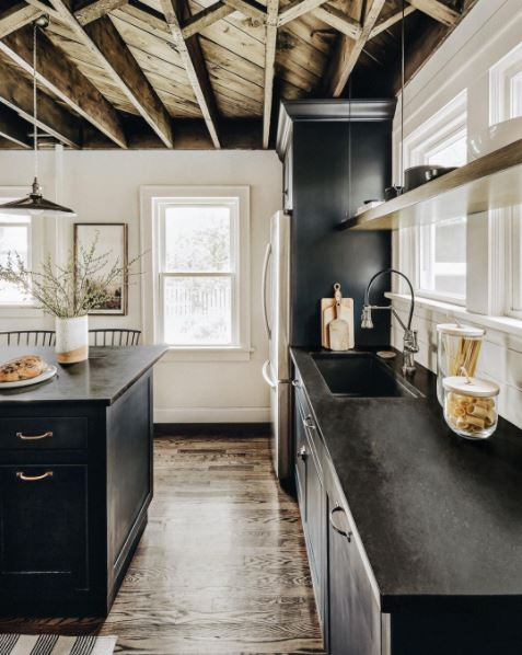 A rustic, farmhouse-style kitchen in black and white