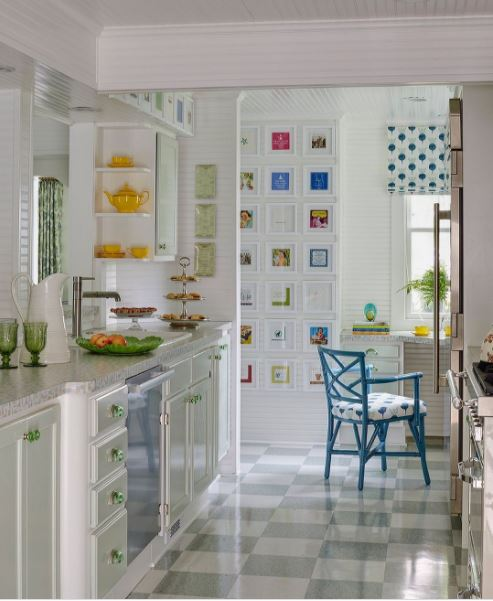 A charming kitchen with beautiful pops of color throughout