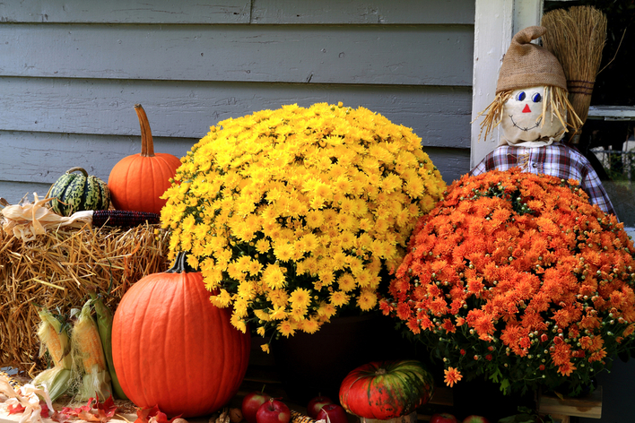 Mums, gourds, hay, and pumpkins decorating the outside of a home
