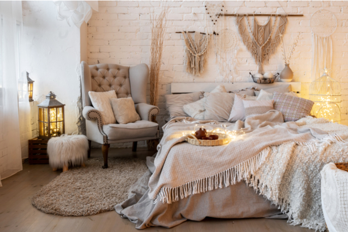 Neutral colored boho chic bedroom