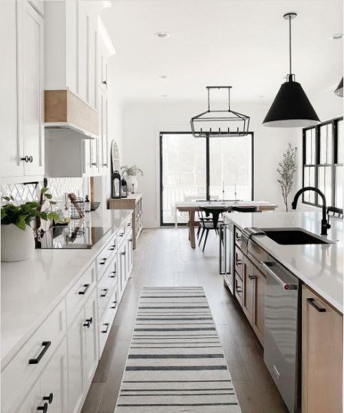 A white kitchen with black accents throughout