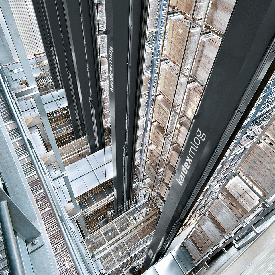Stacker Cranes in an automated high-bay warehouse for pallets