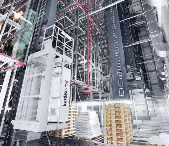 Stacker cranes for double-deep storage in automated high-bay warehouses