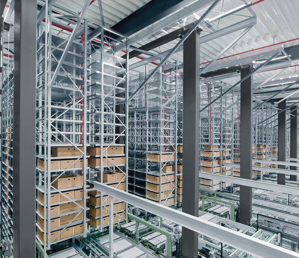 Automated warehouse to store mini loads on trays