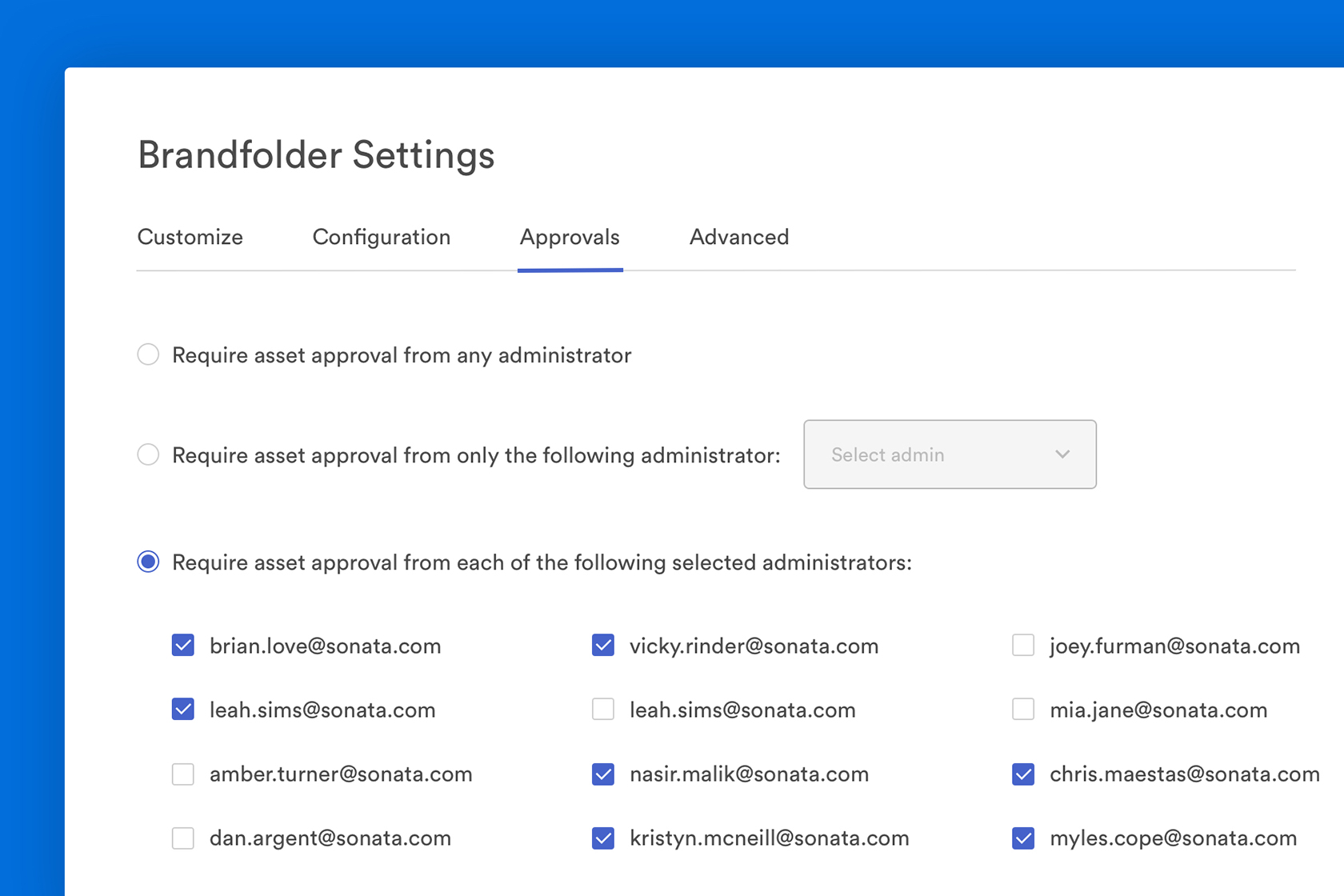 View of approval settings in Brandfolder