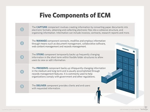 Infographic showing the five components of ECM