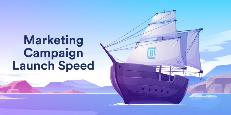 Illustration of boat launch as header for infographic on marketing speed to market