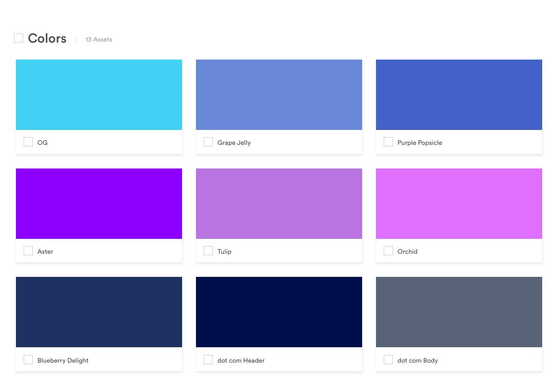 Brand color palatte of Brandfolder