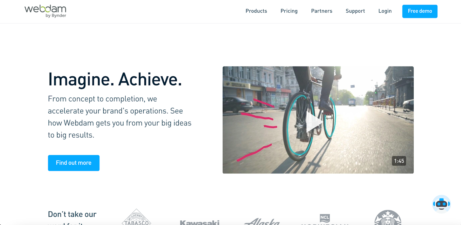 view of Bynder WebDAM homepage