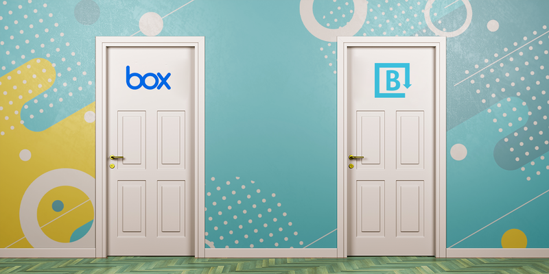 A door with the Brandfolder logo next to a door with the Box logo