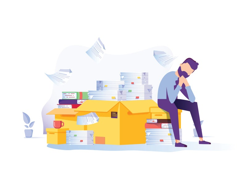 Illustration of man frustrated with image management