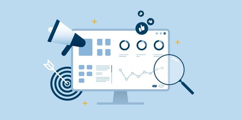 Illustration of marketing asset management on a computer monitor