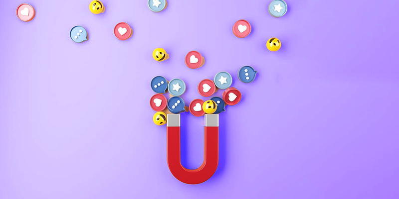 Illustration of magnet attracting social media engagement icons