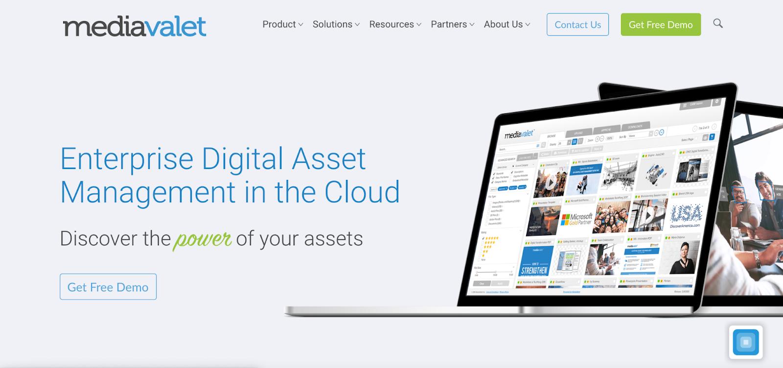 View of MediaValet homepage