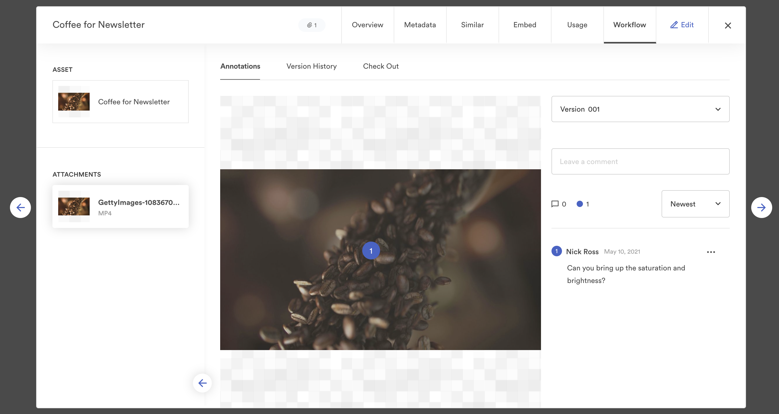 View of video workflow in Brandfolder and comments feature