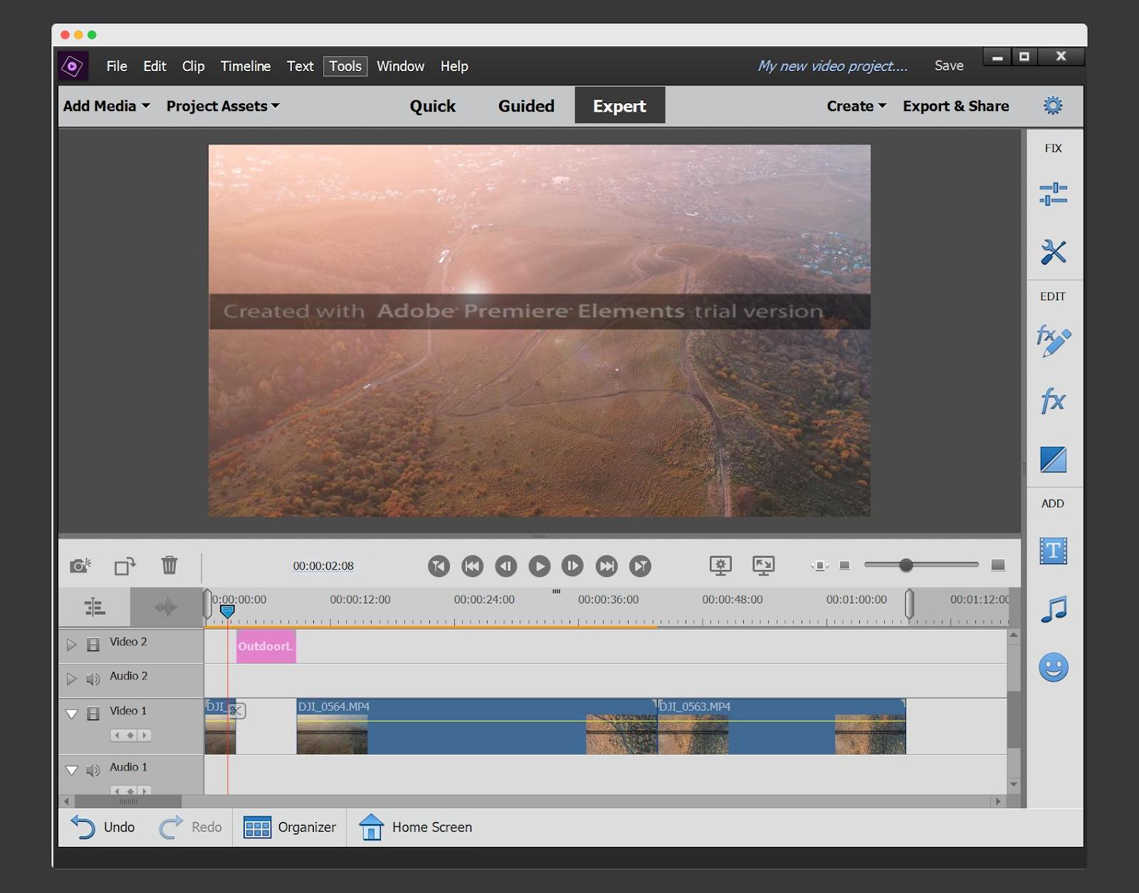 Screenshot of Adobe Premiere Elements