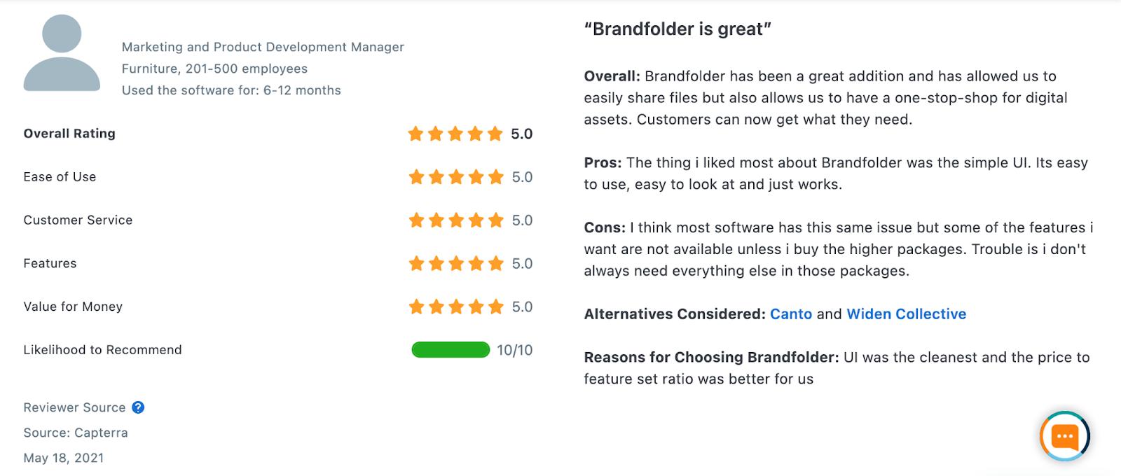 A Brandfolder customer review from Capterra