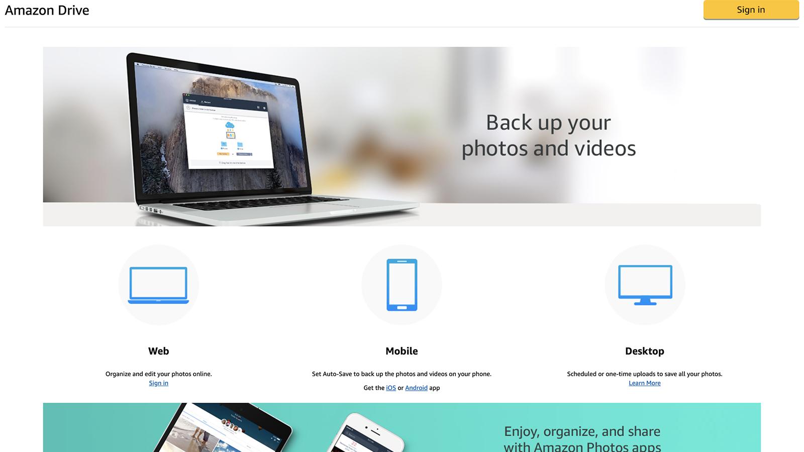 Screenshot of Amazon Drive