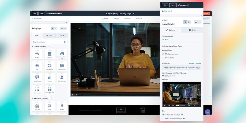 Views of the HubSpot and Brandfolder integration
