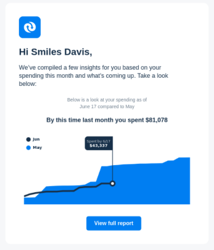 Example of data visualization used in email
