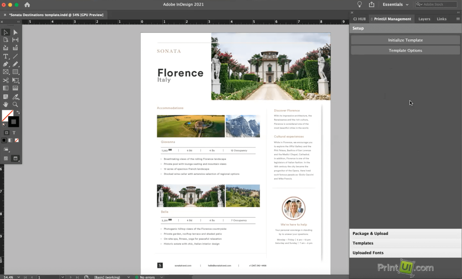 View of Brandfolder template customization settings in Adobe InDesign
