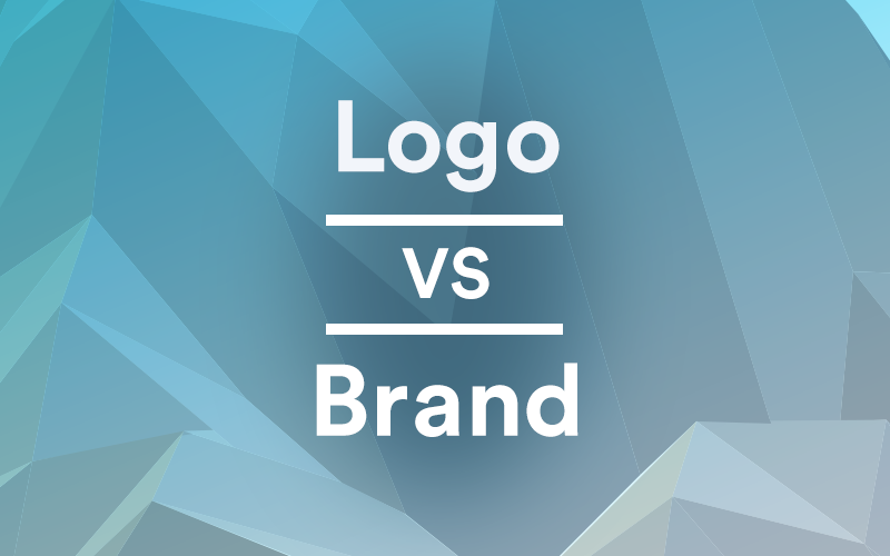 Word 'Logos vs Brand' on a teal, geometric background