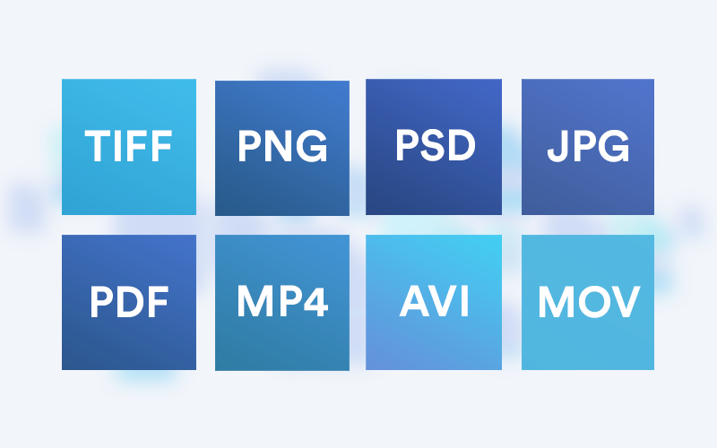chart displaying different file formats