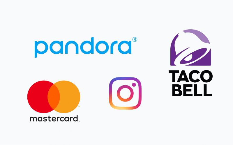Logos for Pandora, Mastercard, Instagram and Taco Bell