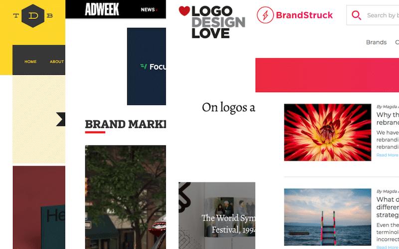 Four website homepages, including TDB, AdWeek, Logo Design Love, and BrandStruck