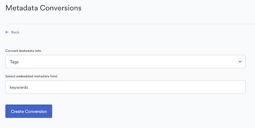 View of metadata conversions