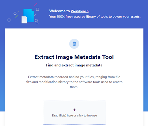 View of Brandfolder's Extract Image Metadata Workbench tool