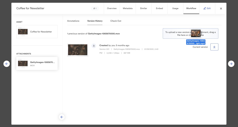 Uploading a video file into Brandfolder