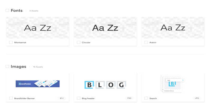 Example of brand fonts from Brandfolder