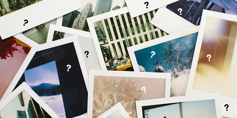 A pile of images with question marks overlaid