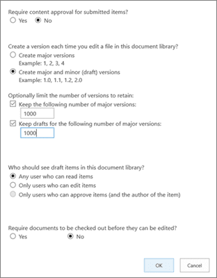 View of Sharepoint versioning settings