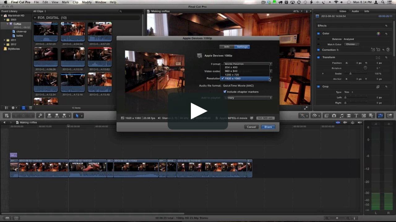 Screenshot of Apple Final Cut Pro