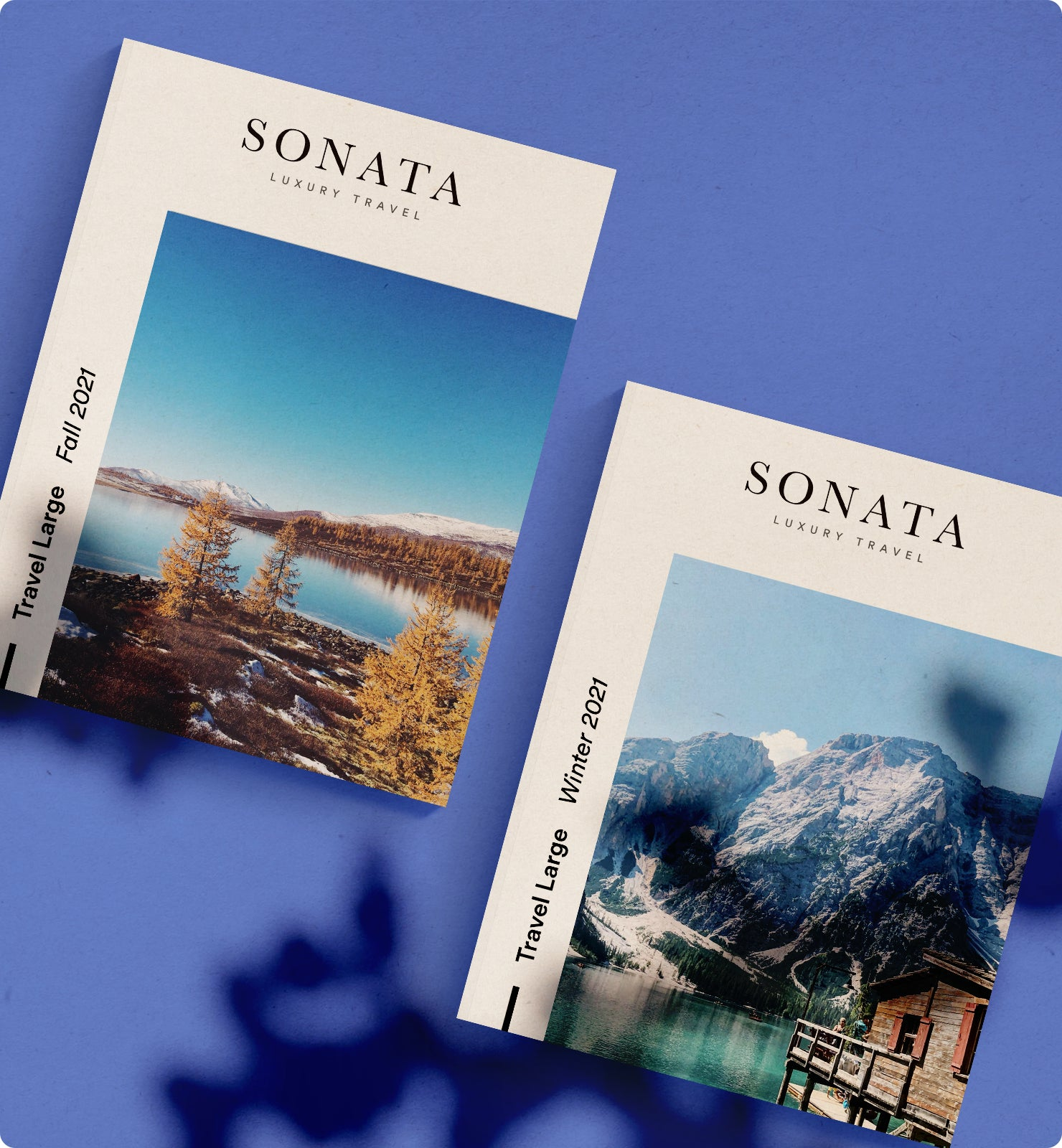two Sonata Luxury Travel printed catalogs with outdoor scenes on the covers