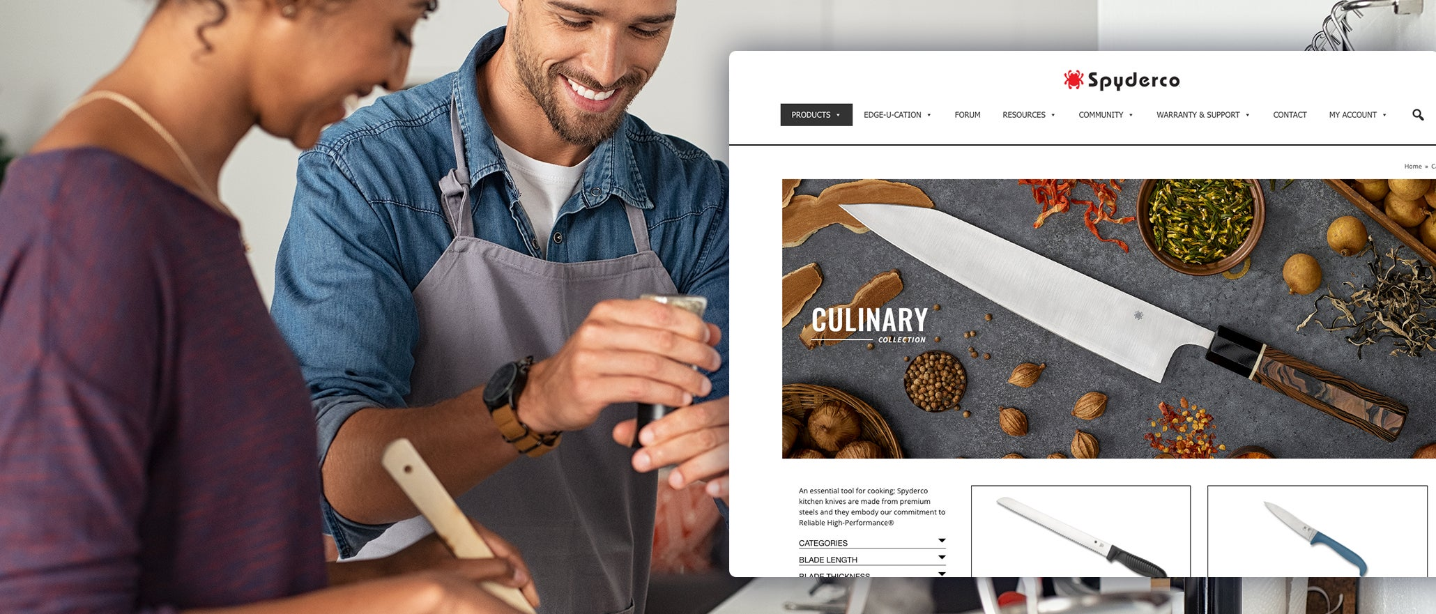 screenshot of Spyderco website and two people cooking