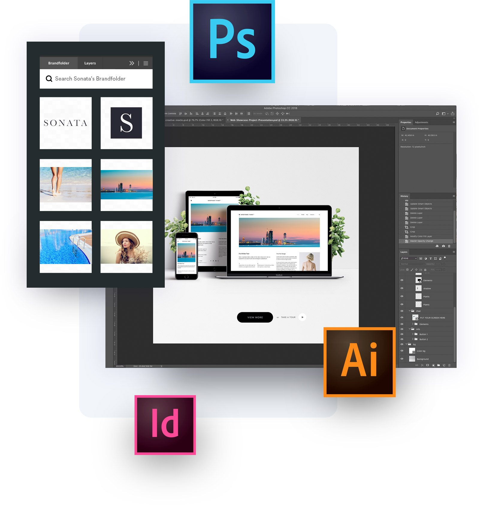 Adobe integration with Photoshop, Illustrator and InDesign