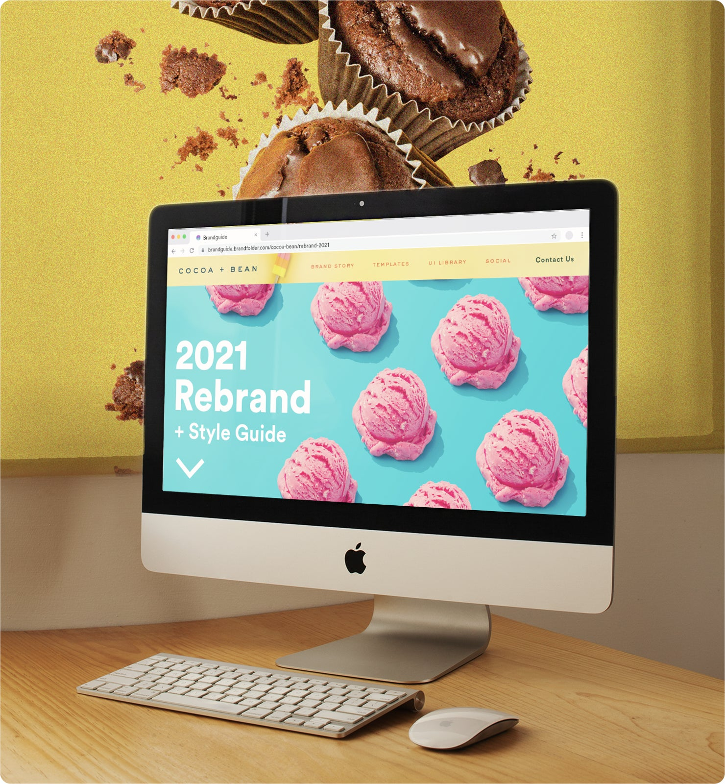 A large computer monitor showing a brightly colored blue and pink Cocoa + Bean Rebrand Style Guide