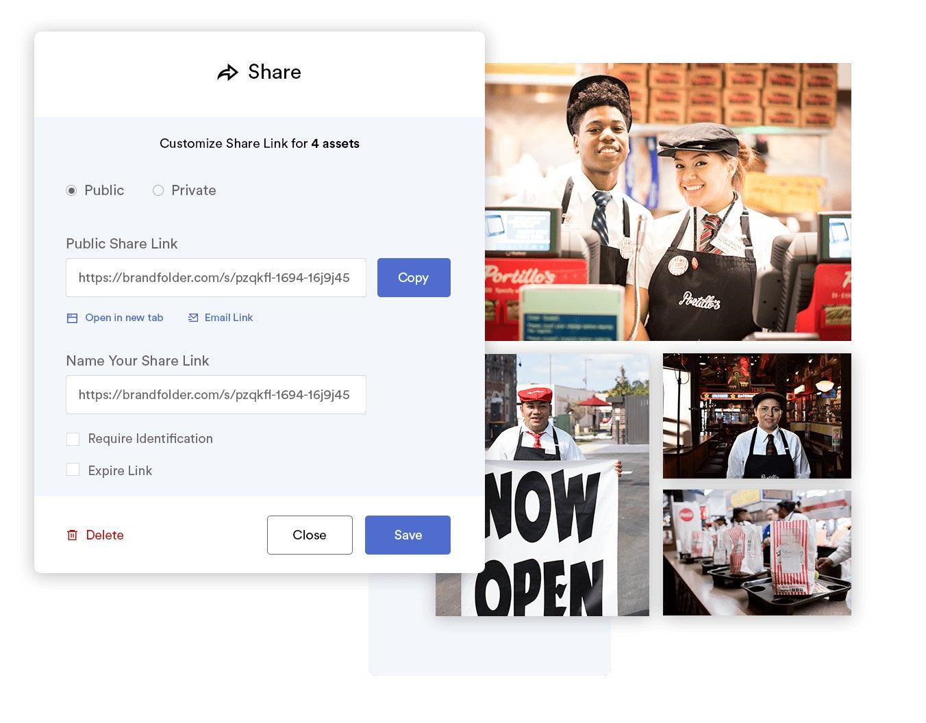 Share modal displaying share links