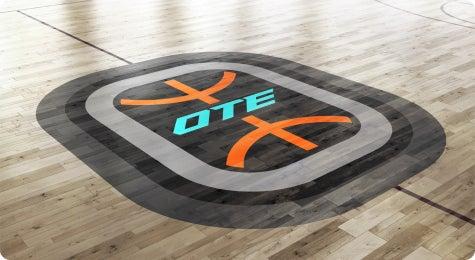 Overtime logo on basketball court