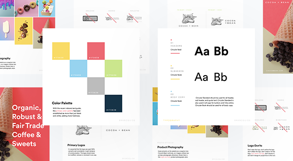 An example Brandguide featuring a color palette, typography, logo do's and dont's
