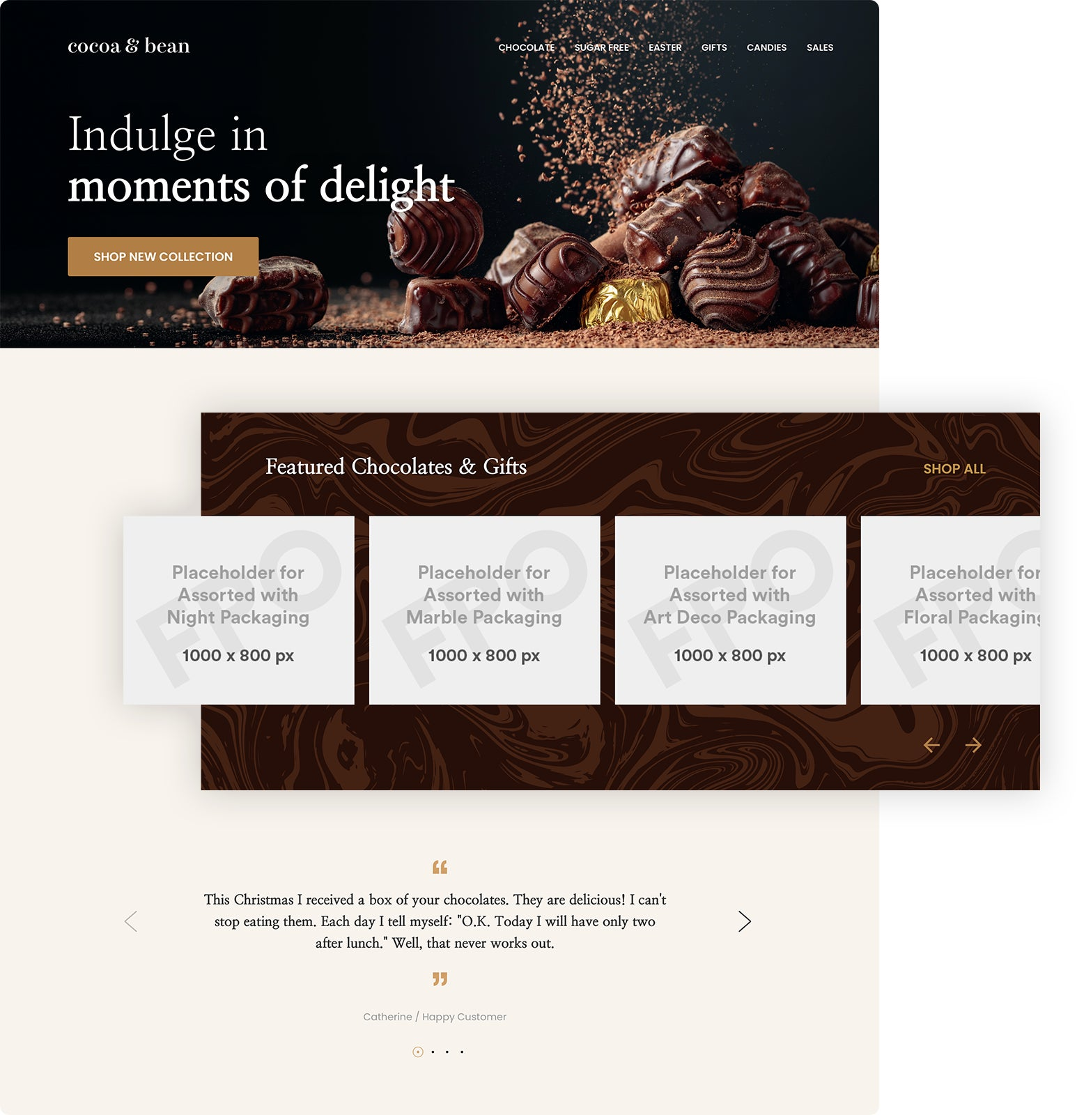 a chocolate e-commerce website displaying various placeholder images