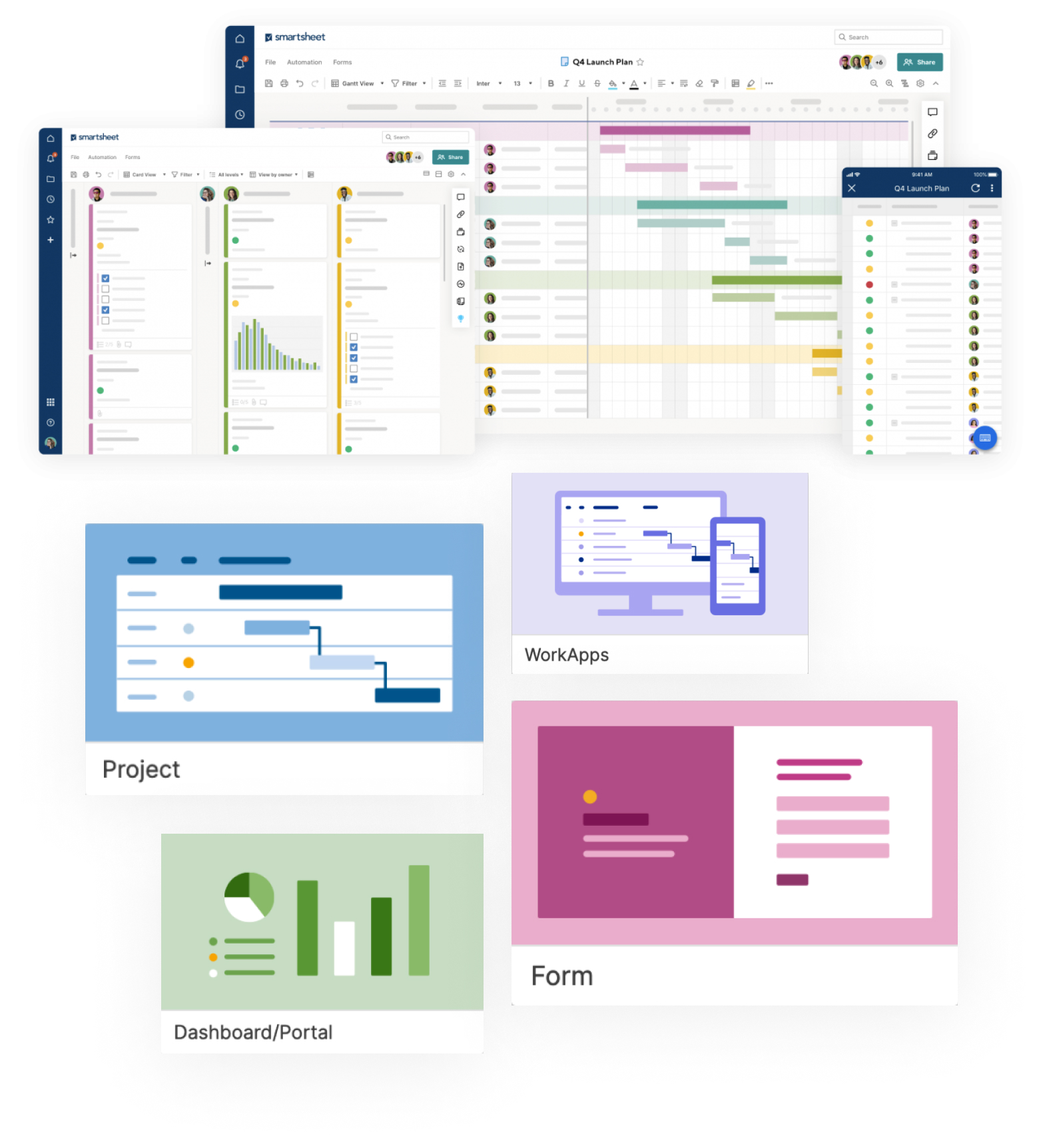 collage of Smartsheet grid views surrounded by cards of Smartsheet features