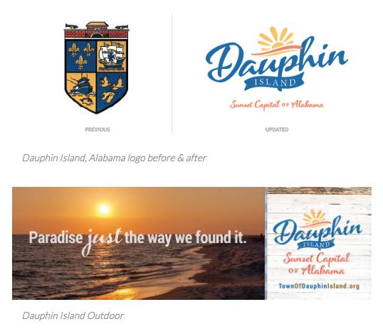 Dauphin Island logo and tagline rebrand