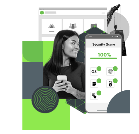 a collage of DUO images featuring a woman holding a mobile phone and screenshots of the DUO Security app