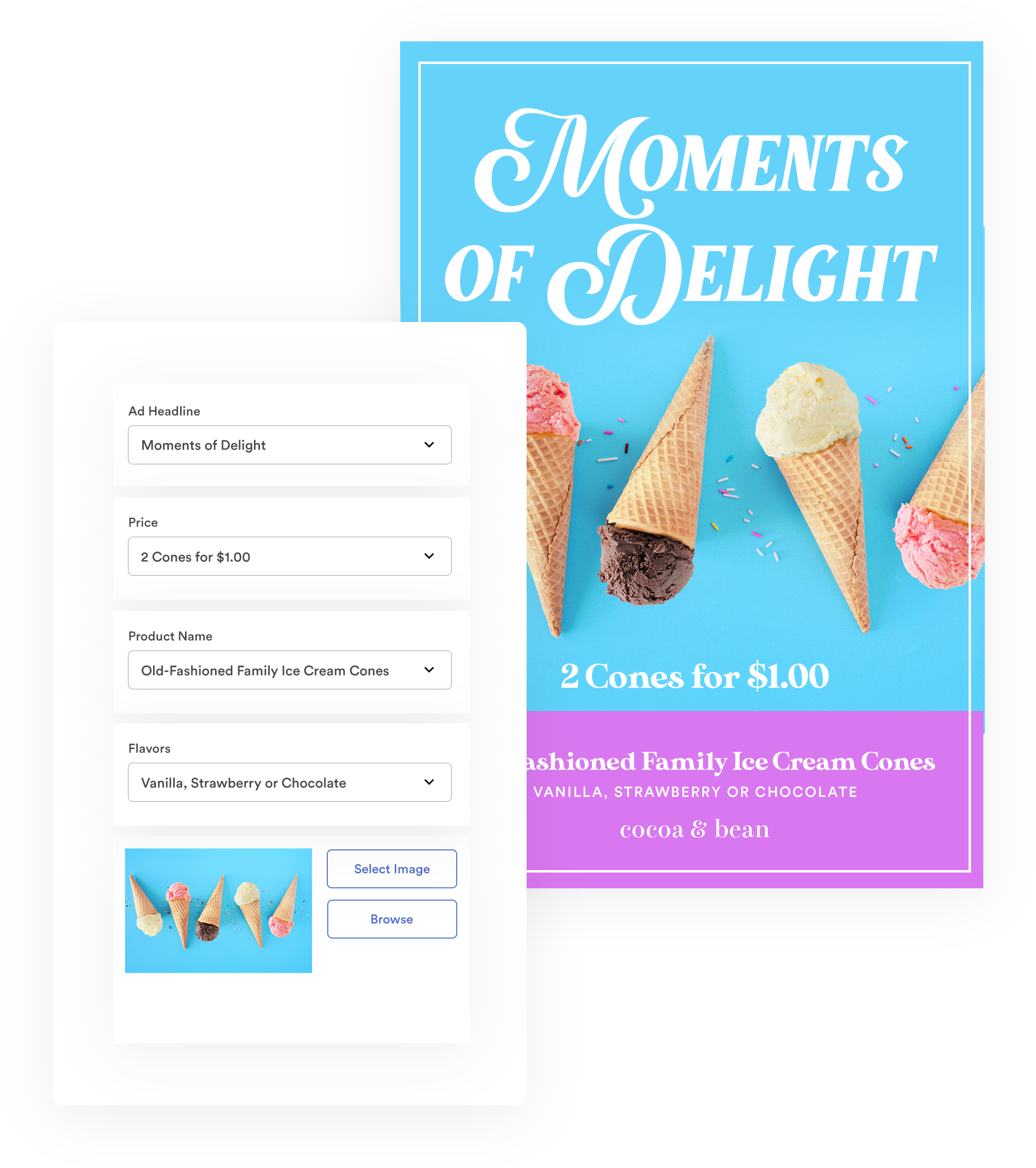 screenshot showing ice cream shop flyer with customizable copy